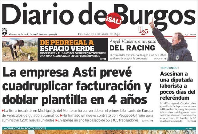 ASTI PORTADA DEL DIARIO DE BURGOS